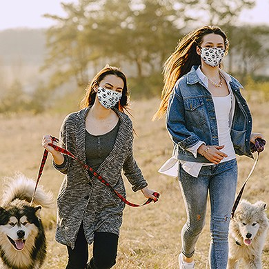 Adult Reusable, Washable Cloth Face Mask With Filter Pocket - Paw Prints