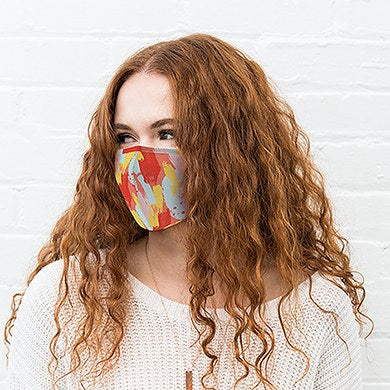 Adult Reusable, Washable Cloth Face Mask With Filter Pocket - Abstract Brushstroke