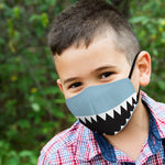 Kid's Reusable, Washable Cloth Face Mask With Filter Pocket - Shark Tooth