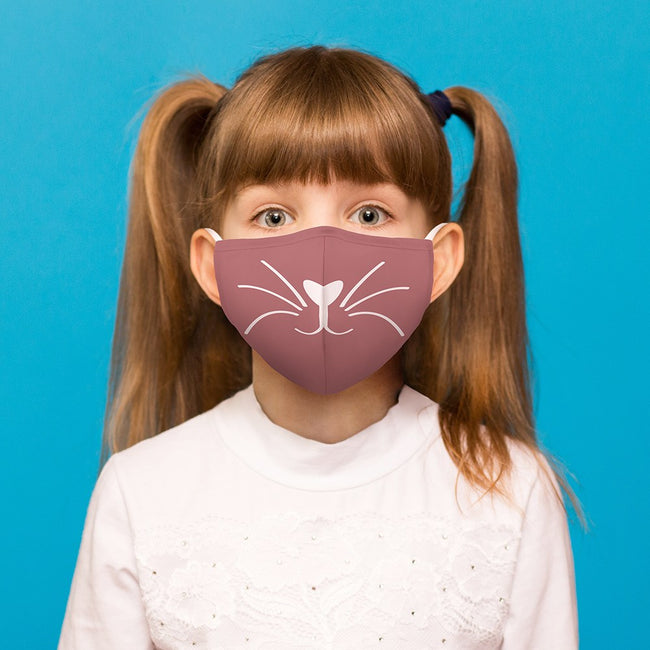 Kid's Reusable, Washable Cloth Face Mask With Filter Pocket - Pink Kitty