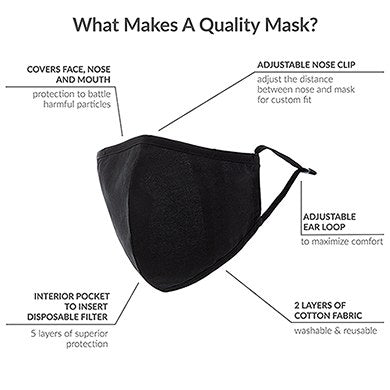 Adult Reusable, Washable Cloth Face Mask With Filter Pocket - Alphabet