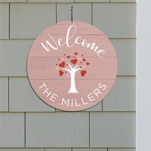 Personalized Welcome Hearts Tree Round Sign - Tressa Gifts