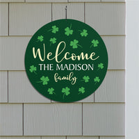 Personalized Welcome Shamrocks Round Sign - Tressa Gifts