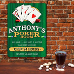 Poker Room Personalized Wall Sign - Tressa Gifts