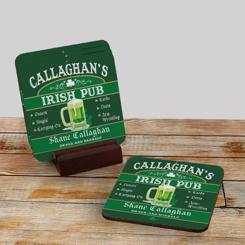 Irish Pub Personalized Coaster Set - Tressa Gifts