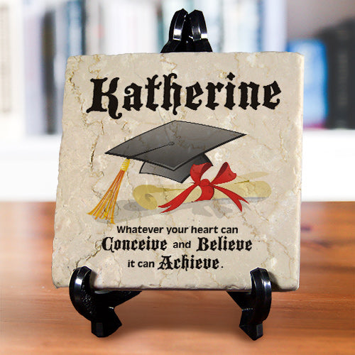 Personalized Graduation Tumbled Stone Plaque