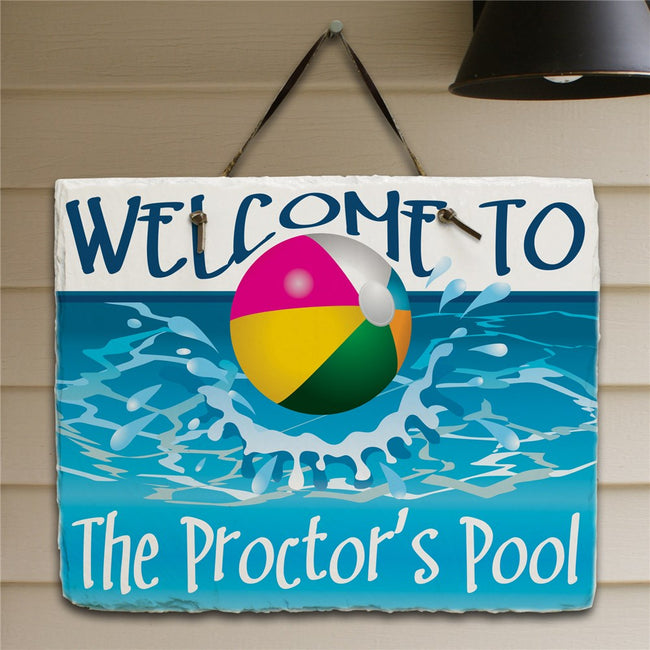 Beach Ball Welcome Slate Plaque