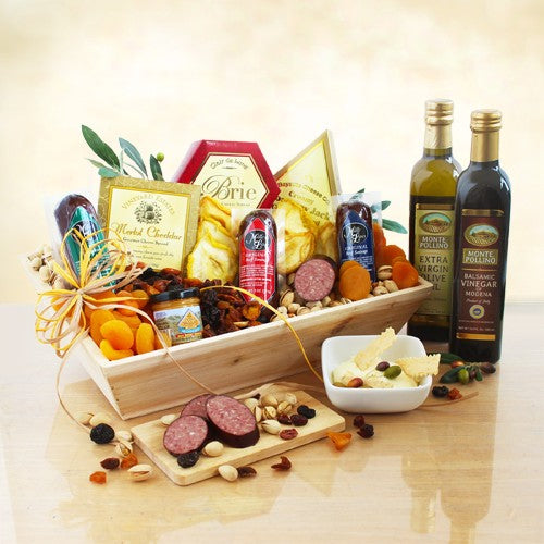 Ultimate Meat & Cheese Wooden Gift Crate - Tressa Gifts
