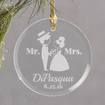 Engraved Wedding Couple Round Glass Ornament