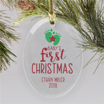 Personalized Footprint Oval Glass Ornament - Tressa Gifts