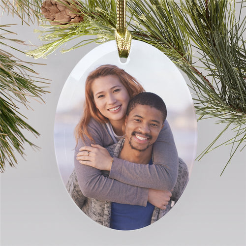 Personalized Photo Oval Glass Ornament - Tressa Gifts
