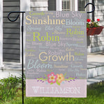 Personalized Spring Words Garden Flag - Tressa Gifts