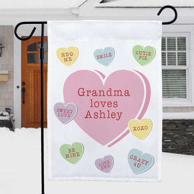 Personalized Hearts Garden Flag