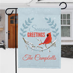 Personalized Seasons Greetings Cardinal Garden Flag - Tressa Gifts
