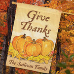 Personalized Give Thanks House Flag - Tressa Gifts