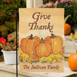 Give Thanks Personalized Garden Flag - Tressa Gifts