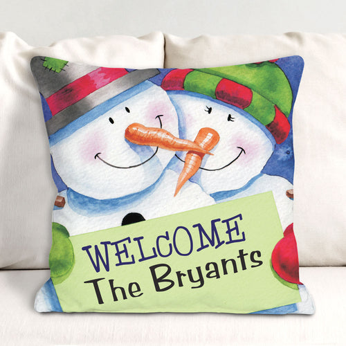 Personalized Snow Couple Throw Pillow - Tressa Gifts