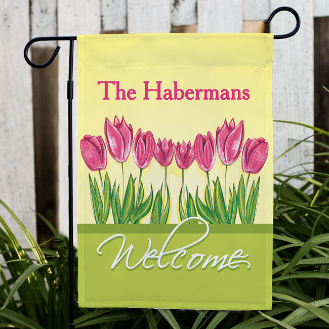 Personalized Tulips Garden Flag