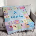Personalized Blue Alphabet Baby Tapestry Throw - Tressa Gifts