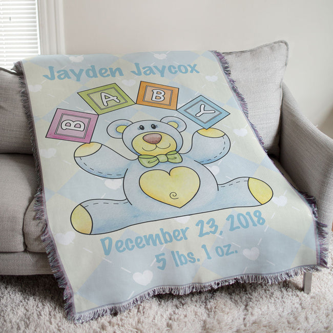 Personalized Baby Boy Teddy Bear Tapestry Throw