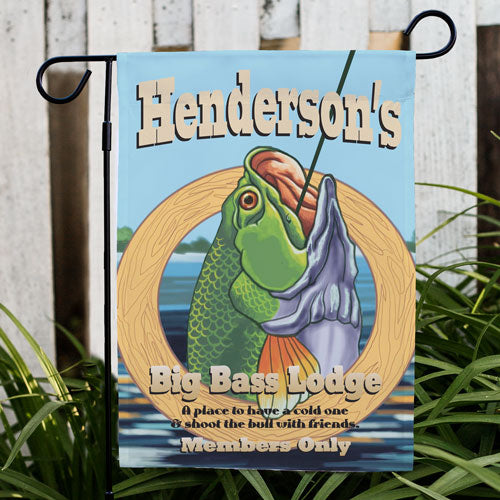 Personalized Big Bass Lodge Garden Flag - Tressa Gifts