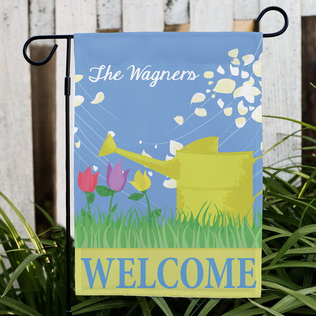 Personalized Watering Can Spring Garden Flag