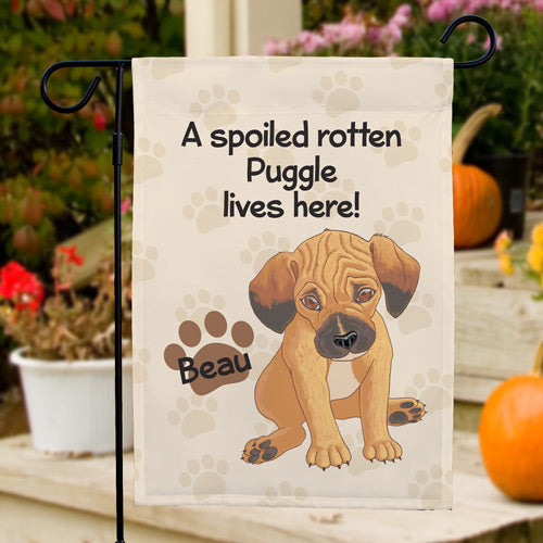 Personalized Puggle Spoiled Here Garden Flag - Tressa Gifts