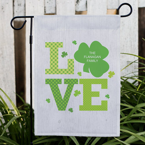 Personalized Shamrock Love Garden Flag