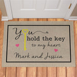 Personalized You Hold The Key To My Heart Doormat - Tressa Gifts