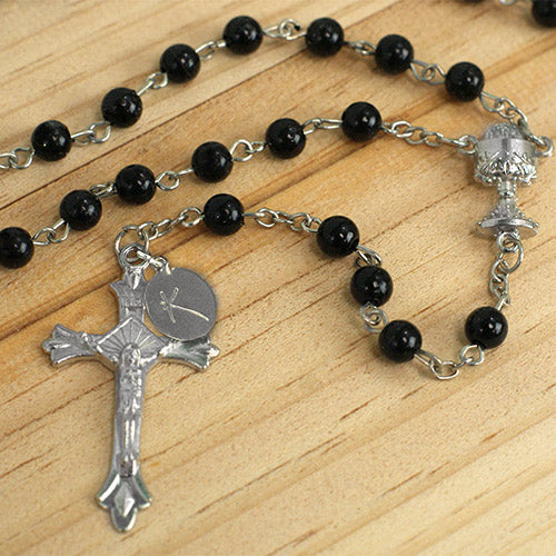 Personalized Black Communion Rosary - Tressa Gifts