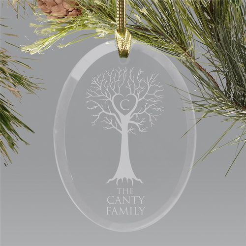 Engraved Family Tree Oval Glass Ornament - Tressa Gifts