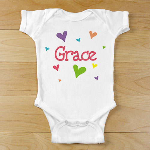"New Baby ""She's All Heart"" Personalized Infant Bodysuit"