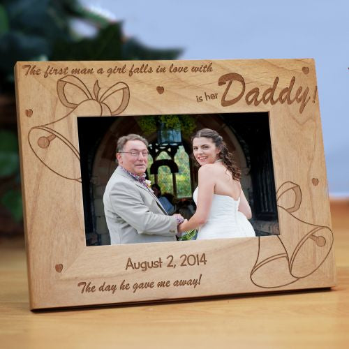 "Personalized ""Is her Daddy"" Wedding Bells Picture Frame"