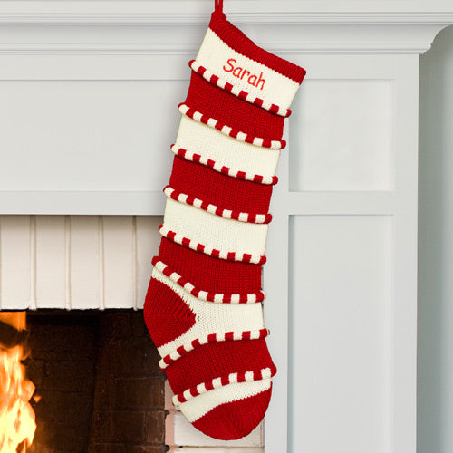 Embroidered Red Striped Stocking - Tressa Gifts