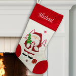 Embroidered Red and White Santa Stocking - Tressa Gifts