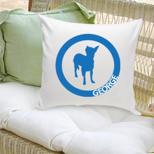 Classic Circle Silhouette Personalized Dog Throw Pillow - Tressa Gifts