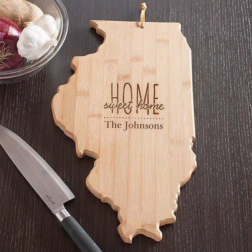 Personalized Home Sweet Home Illinois State Cutting Board