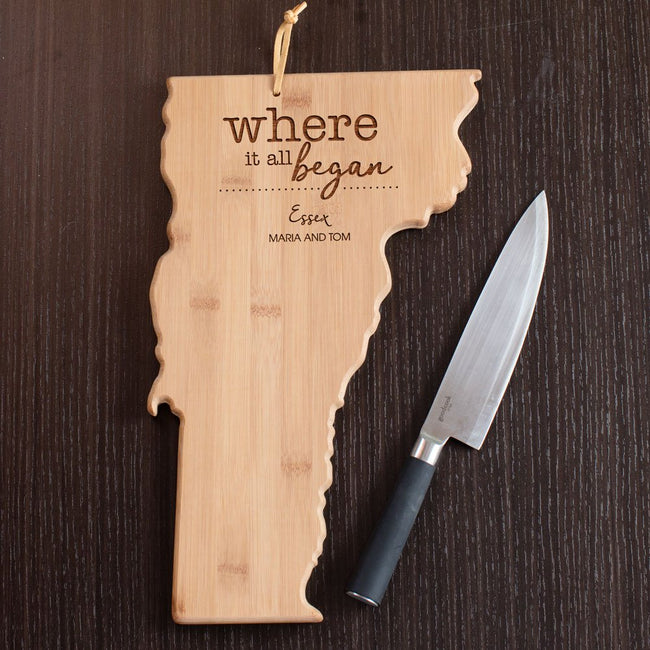 Personalized Vermont State Cutting Board