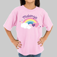 Personalized Rainbow and Hearts Kids T-shirt - Tressa Gifts