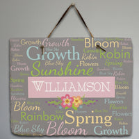 Personalized Spring Words Slate Plaque - Tressa Gifts