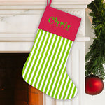 Embroidered Green Stripe Stocking - Tressa Gifts