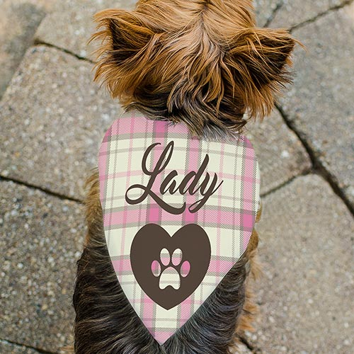Personalized Plaid Heart Pet Bandana - Tressa Gifts