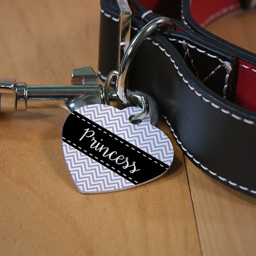 Personalized Chevron Heart Shaped Pet Tag - Tressa Gifts
