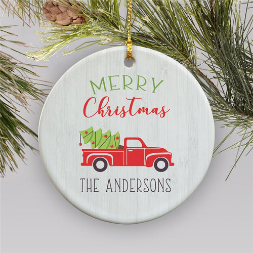 Personalized Merry Christmas Truck Ornament - Tressa Gifts