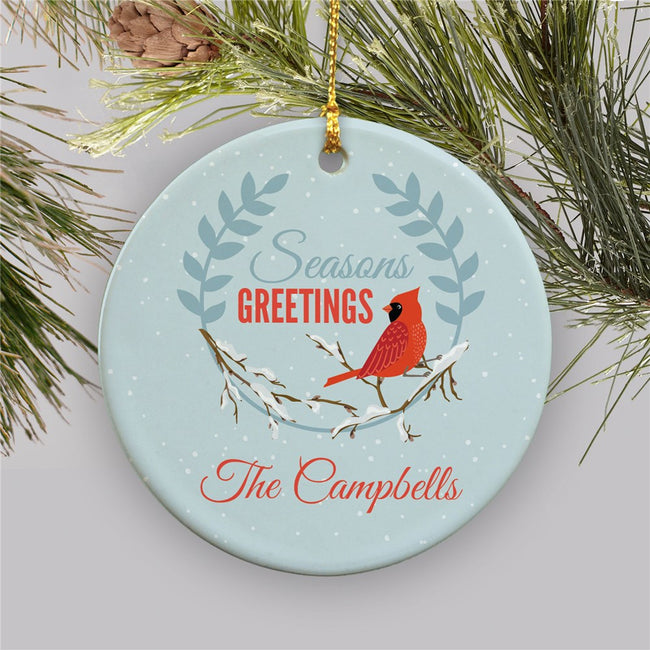 Personalized Seasons Greetings Cardinal Ceramic Ornament