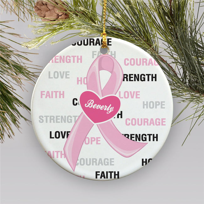 Hope and Love Breast Cancer Awareness Ceramic Christmas Ornament