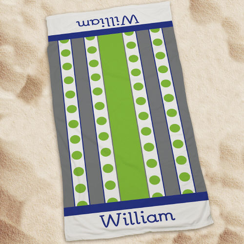 Personalized Green Polka Dots And Stripes Beach Towel