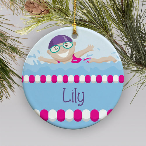 Personalized Girl Swimmer Ornament - Tressa Gifts
