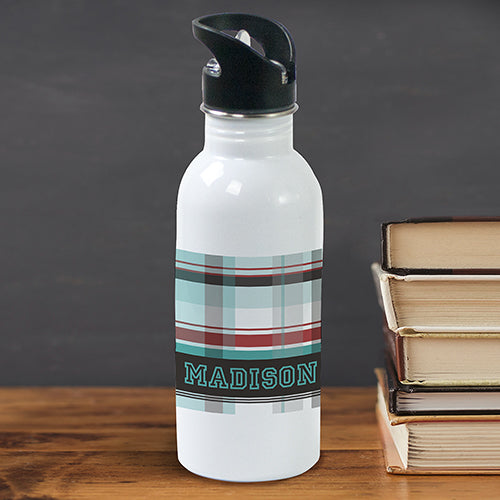 Personalized Blue Plaid Water Bottle - Tressa Gifts