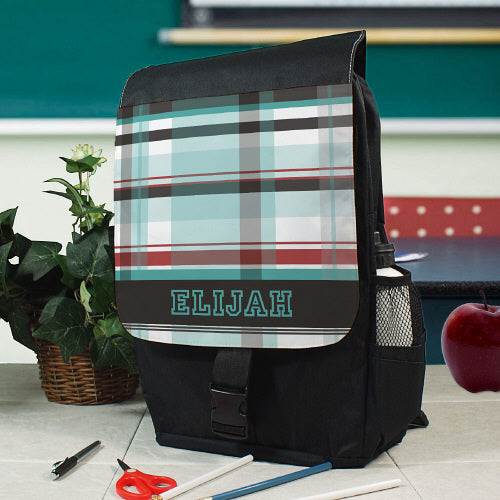 Personalized Blue Plaid Backpack